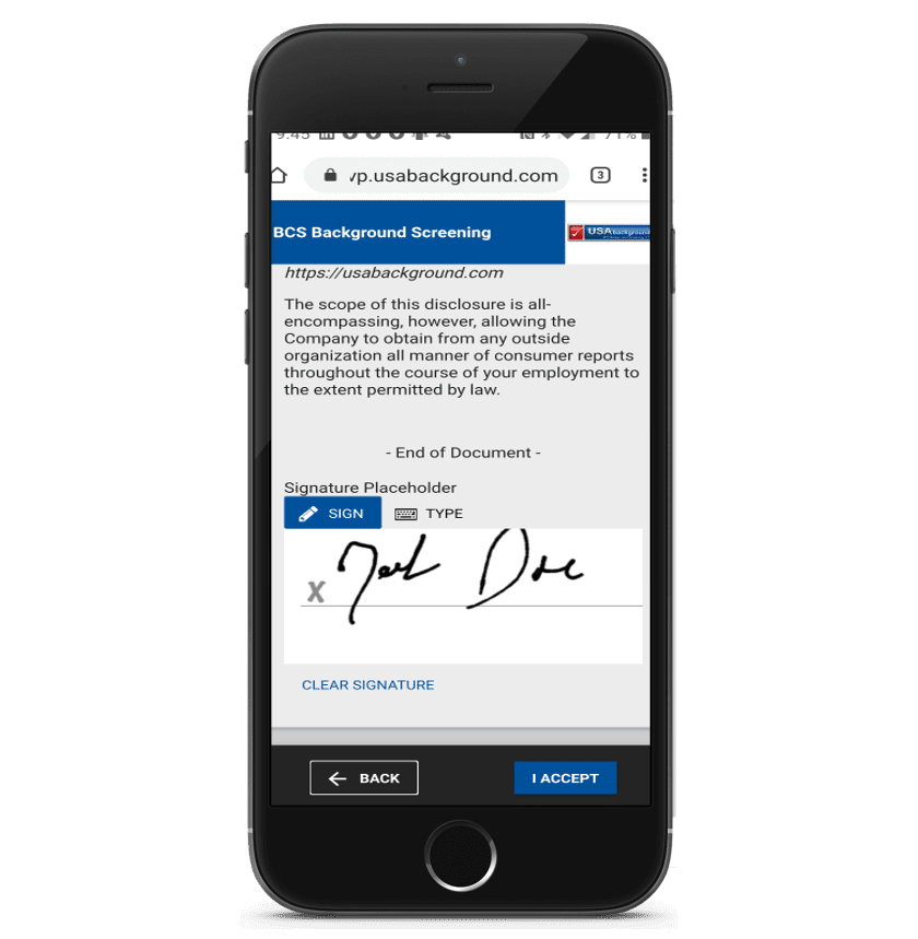 mobile background check electronic signature